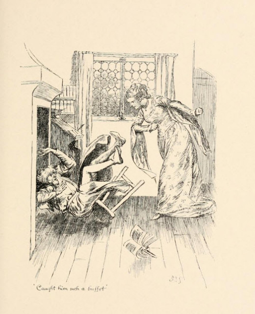 Image from the Wife of Bath's Tale where the woman dominates over her husband. Here we see the husband cowering at his wife's anger.