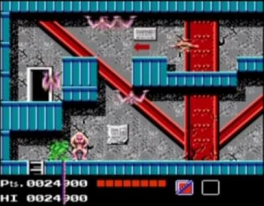 """The first game (shown here) totally stinks. What is all that crap? C'mon Konami. Were you guys even trying when you made this? I know we loved the Turtles a lot and you could have written """"Turtles"""" on a can of soup and we would have wanted it, but..."""