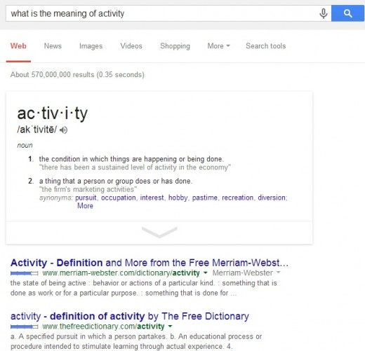 Using Google search to look for word meaning
