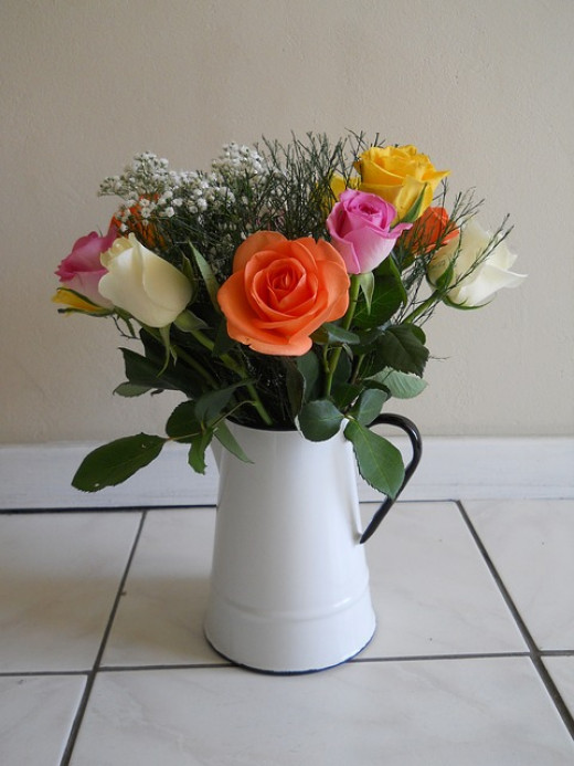 These beautiful roses do not need an expensive vase to show them off to best effect!