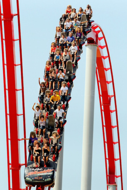 The Intimidator is a tall and long roller coaster at Carowinds Amusement Park in Fort Mill/Charlotte, NC.