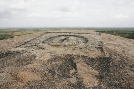 Footprints of Chandragupta Maurya atop Chandragiri hill at Shravanabelagola in Karnataka, India.