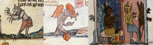 Images of the Devil from medieval manuscripts. British Library.