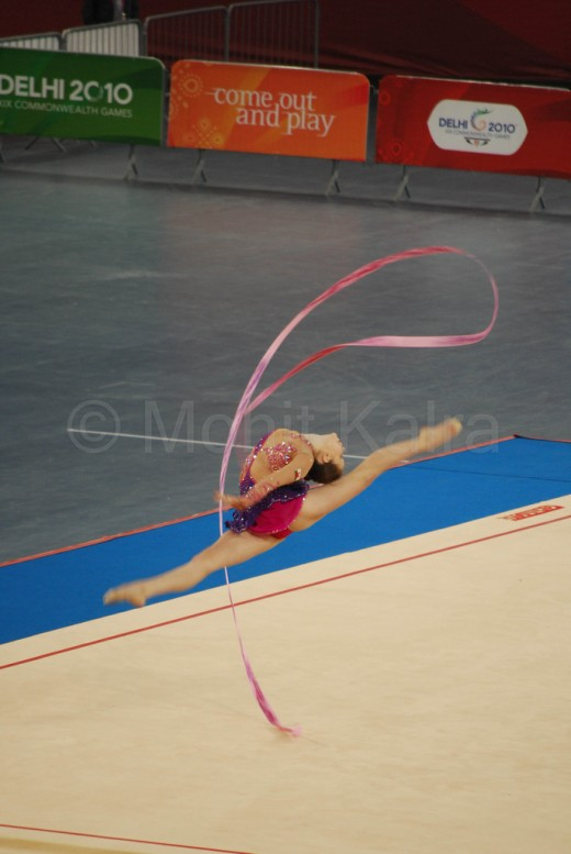 Francesca Jones a Welsh rhythmic gymnast, completing her routine during 2010 Commonwealth Games in Delhi.