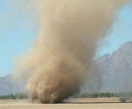 Dust devils tend to form in groups with the larger dust devil being followed behind by smaller dust devils that are short-lived. Image Credit: NASA