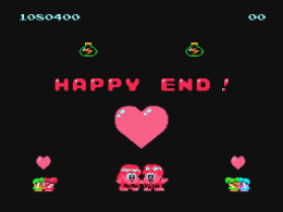 Yay! Happy End! Lol... C'mon Taito. Call someone in the United States and ask if Happy End is the right way to say it. Just pick a random number in the phonebook. Anyone will help you. How hard is it? C'mon!