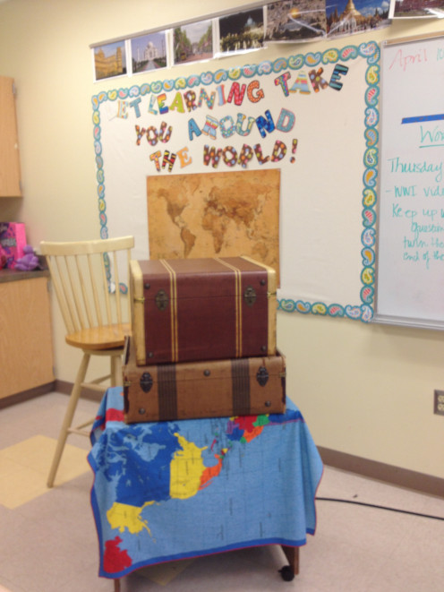 Imagine the excitement seeing this prop as the teacher discussed a project on traveling countries around the world.