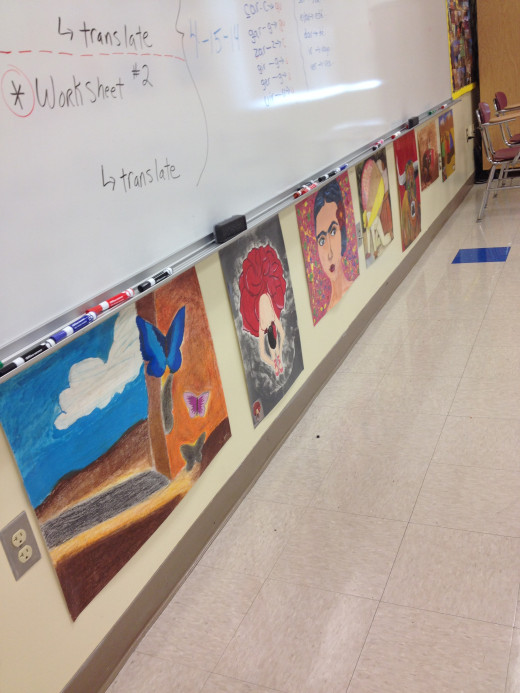 Display student art work up front to create recognition among peers.