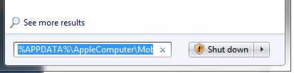 Windows Start Menu displaying text in the search box