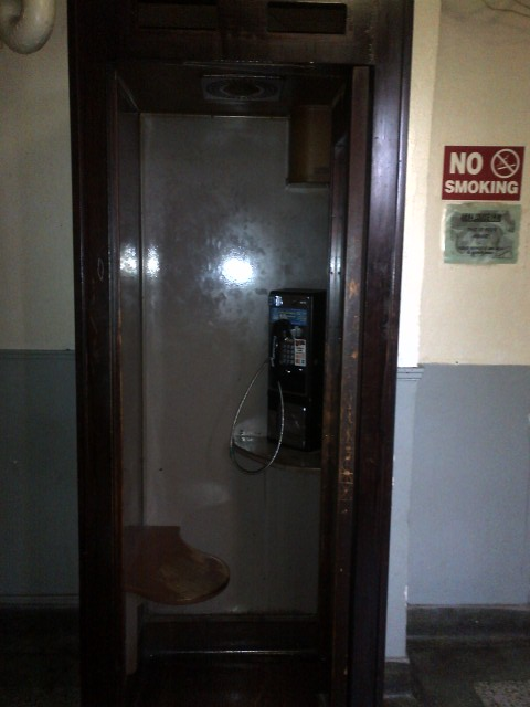 The ONLY pay phone booth in the place.