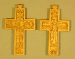 front and back image of wooden cross.