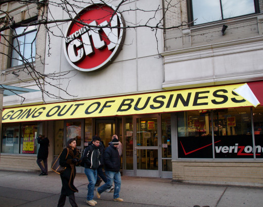 Circuit City store on Broadway,  Manhattan. The company declared Chapter 11 bankruptcy,   in late 2008.