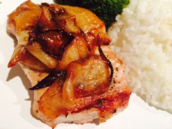 Grilled Pork Chops with Carmelized Apples & Onions
