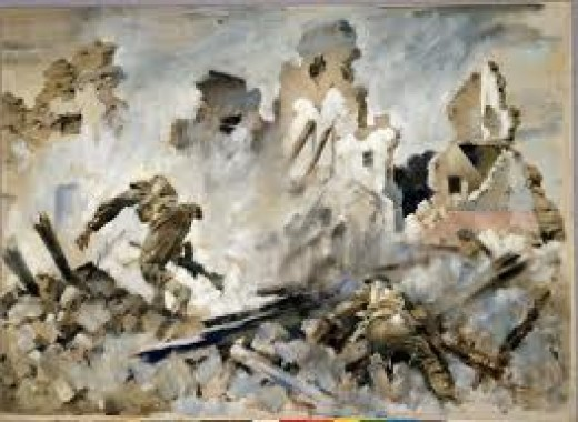 'Into Cassino', painting by a New Zealand war artist