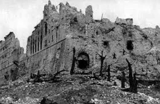The ruined abbey after RAF and USAAF bombing and a hard slog by Allied troops