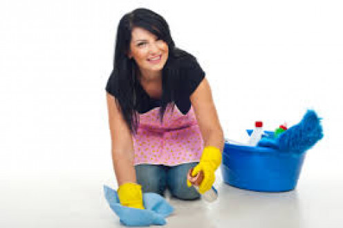 She is cleaning happily.