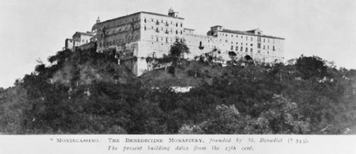 The Benedictine abbey of Monte Cassino found itself on the Gustav Line in 1944 - this is before