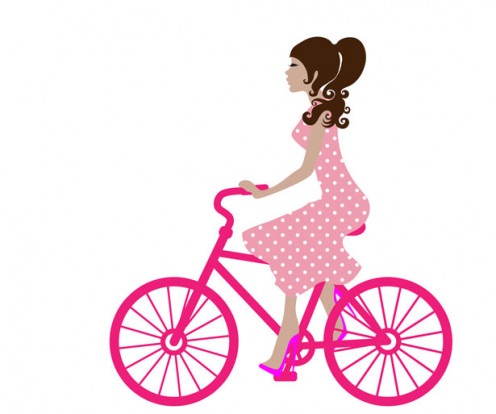Image of a woman a woman dressed in pink riding a pink a bike, represents,a female writer  through the Hubpages and Twitter outlet. Part II.