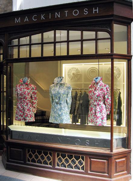 The Mackintosh Shop, Burlington Arcade, London, UK. The Mackintosh brand is now a global style icon.