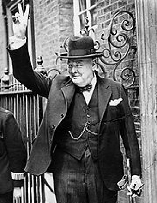 "Winston Churchill's famous ""V for Victory!"" gesture."