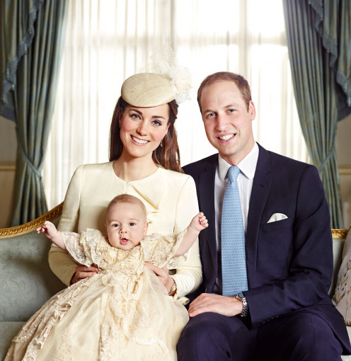 The royal family of Cambridge poses for a photo op in honor of Prince George's christening.