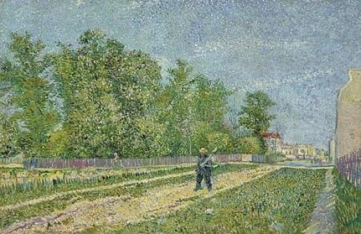 """""""Route aux confine de Paris, avec payson portrait la beche sur l'epaule (Path on the outskirts of Paris, with a peasant carrying a spade)"""" 1887 Van Gogh"""