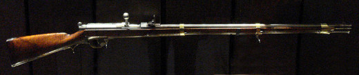 Made by Johann Nikolaus von Dreyse, this Prussian bolt-action rifle features a needle that detonates the cartridge in the barrel when fired.