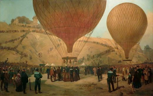 French Interior Minister Leon Gambetta preparing to escape from Paris in a balloon. Despite facing fire from Prussian artillery, his flight was successful.