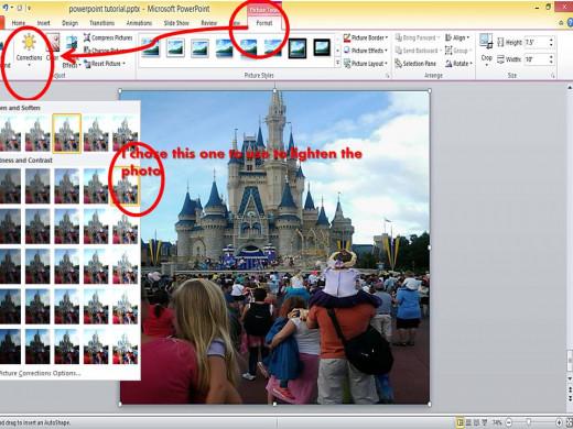 Using PowerPoint 2010 to lighten photo