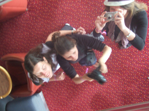 We took photos of ourselves by getting our reflection in the mirrored ceiling on a ferry to the Isle of Wight.