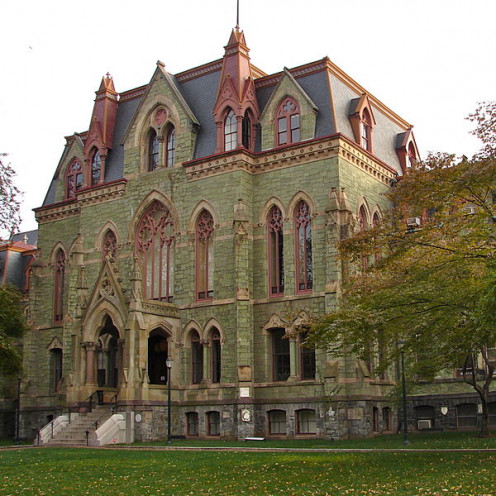 College Hall at the University of Pennsylvania, the highest ranked finance program and the 19th most populated by international students.