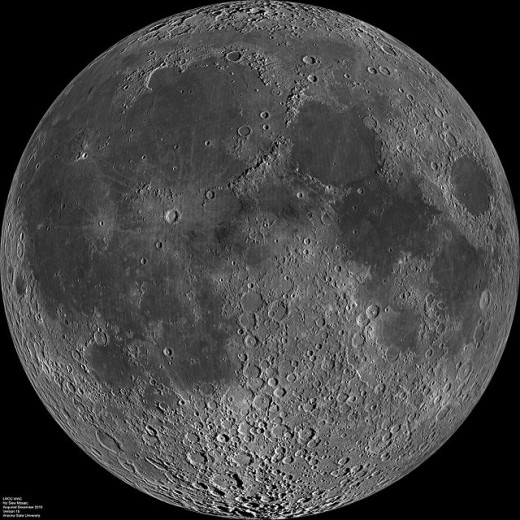 The maria is the dark smooth solid molten rock of the moon surface. It is mainly on the near side of the moon and covers the older cratered surface.