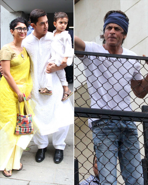 Bollywood stars Shah Rukh Khan, Aamir Khan and Imran Khan were spotted yesterday celebrating Eid with their fans and family.Visti Biscoot Showtym for more.