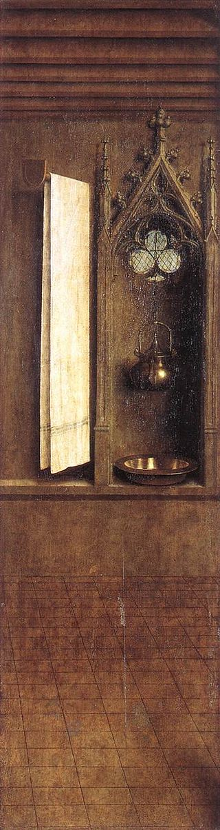 An example of a lavabo. This one is from a painting by Jan Van Eyck circa 1300.