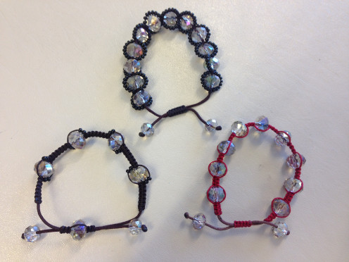 These 3 shamballa style bracelets differ only in the number of beads used to make them.