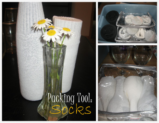 Socks slip right over glass vases and even wine glasses!  If using these on stemware, make sure to place them in a smaller tub/box within a larger one so they are protected.