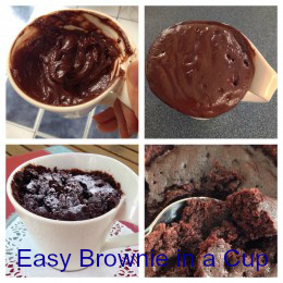Easy Brownie in a Cup Stages