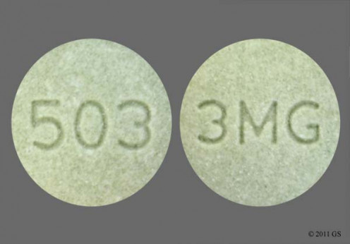 This picture depicts a 3 mg tablet, which is the dosage strength that Jackson takes every night at 8:00 p.m.
