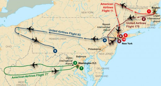 The proposed flight paths of the 4 hijacked airliners.