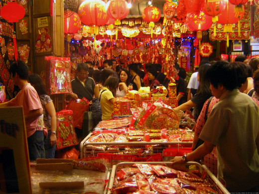 A scene in a street market in Chinatown, Singapore, during the Chinese New Year holidays