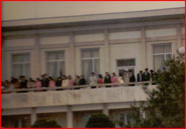 North Korean visitors to Panmunjom.  1985.