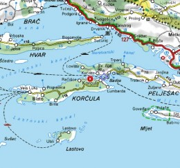 Map of Korcula and Peljesac