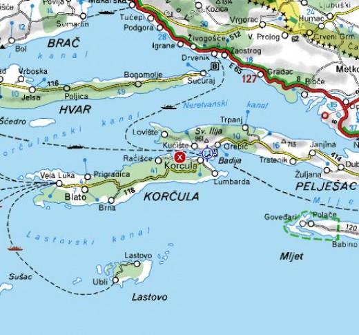 Map of Korcula and Peljesac