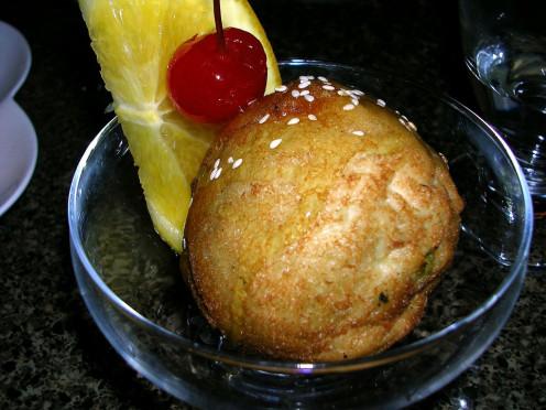 Tempura battered deep fried ice cream in a Thai restaurant in Boston, Massachusetts.