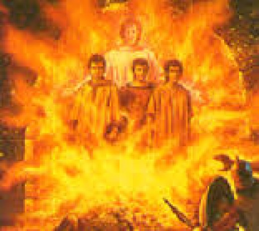 Shedrach, Mishack & Abdenego supported by the son of God in the burning furnace.