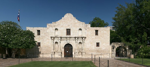 The restored mission chapel of the Alamo in modern day San Antonio, Texas.
