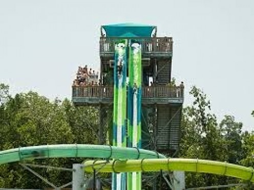 Water Country USA has lots of water rides for children and adults. Some of the slides are very tall and go fast.