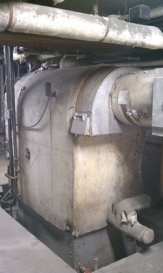 Boiler lagged with asbestos