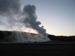 Old Faithful in the morning, before the tourist rush comes.