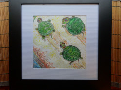 Pictures as Shower Presents: Mixed Media Turtles for a Baby